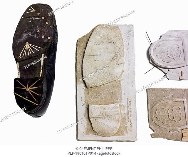 Plaster cast of shoe sole tread from criminal's shoes taken at crime scene for criminal investigation