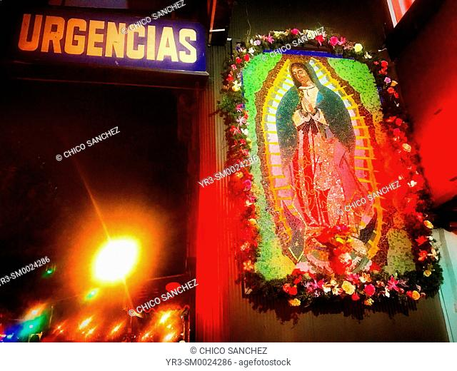 An image of Our Lady of Guadalupe decorates the entrance to the emergencies in a hospital of Colonia Roma, Mexico City, Mexico