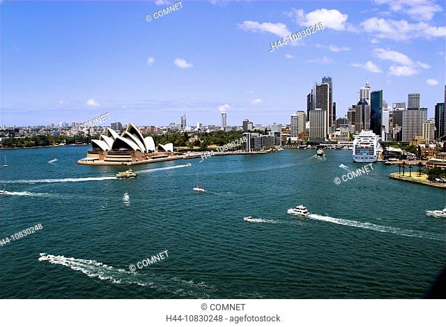Australia, Sydney, Circular Quay, harbor, port, ship, cruise ship, cruise, town, city, skyline, overview, opera-house