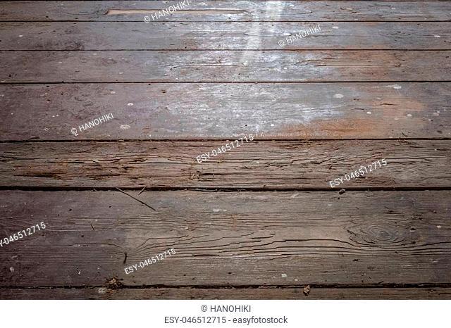 old wooden floor / floorboards in old apartment room - construction concept -