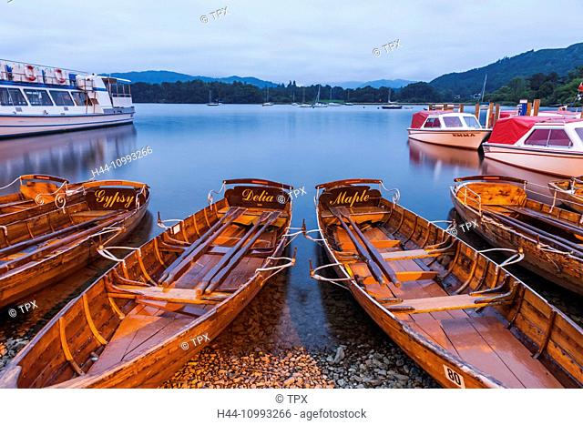 England, Cumbria, Lake District, Windermere, Ambleside, Rowing Boats