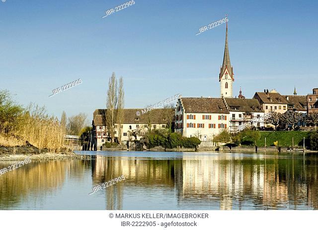 View as seen from Werd island across the Rhine river with the historic district of Stein am Rhein, Canton of Schaffhausen, Switzerland, Europe