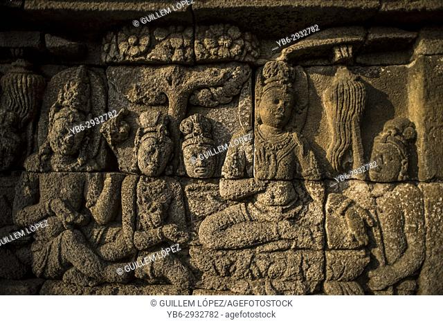 Buddhist stone carvings at the Borobudur temple in Java, Indonesia