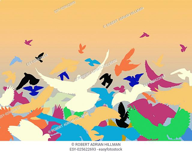 Vector design of a flock of colorful pigeons taking off