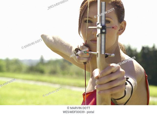 Female archer, close-up