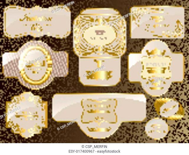 retro vintage set of white gold label