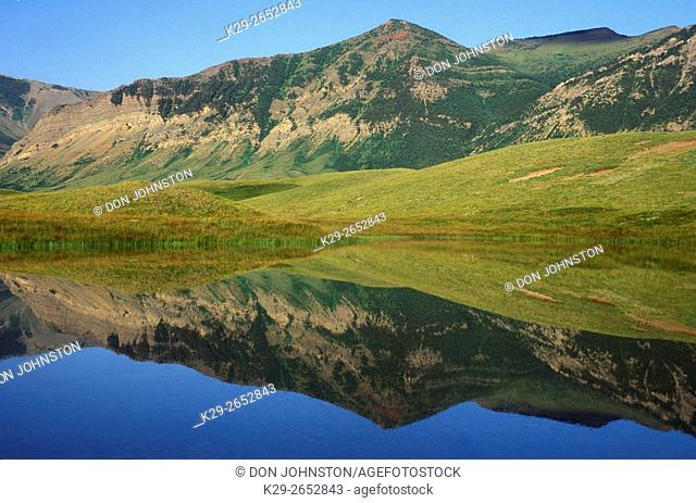 Foothills reflections, Waterton Lakes National Park, AB, Canada