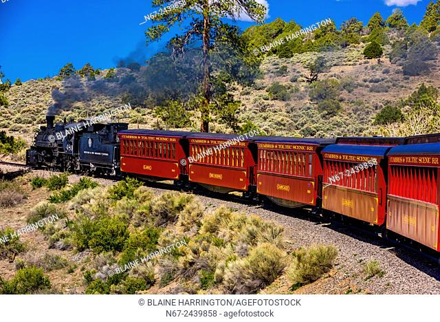 The Cumbres & Toltec Scenic Railroad train on the 64 mile run between Antonito, Colorado and Chama, New Mexico. The railroad is the highest and longest narrow...