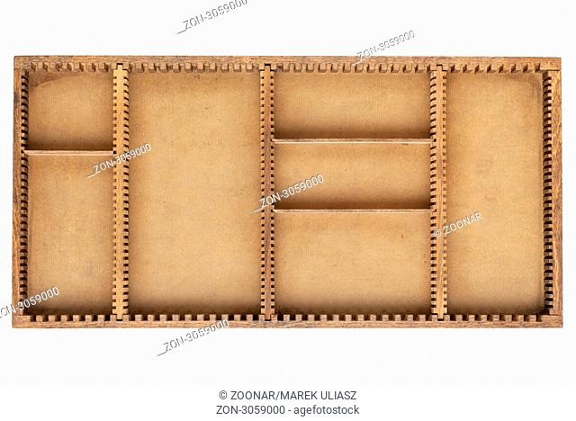 old grunge wood box tray with dividers isolated on white