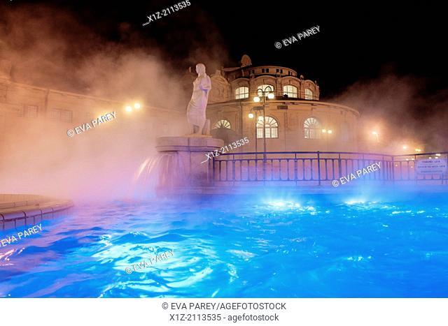 Exterior warm pool in the Szechenyi termal baths of Budapest