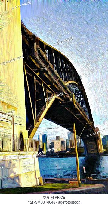 painting filter view of Sydney Harbour Bridge and city skyline