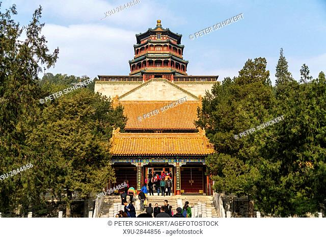 Tower of Buddhist Incense, Summer Palace, Beijing, People's Republic of China, Asia