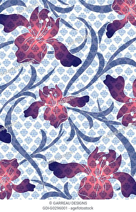 Abstract layered design with iris flowers