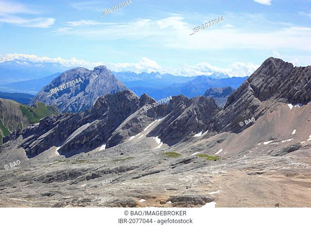 View from Mt Zugspitze across the peaks of the Wetterstein range, border between Bavaria, Germany, and Tyrol, Austria, Europe