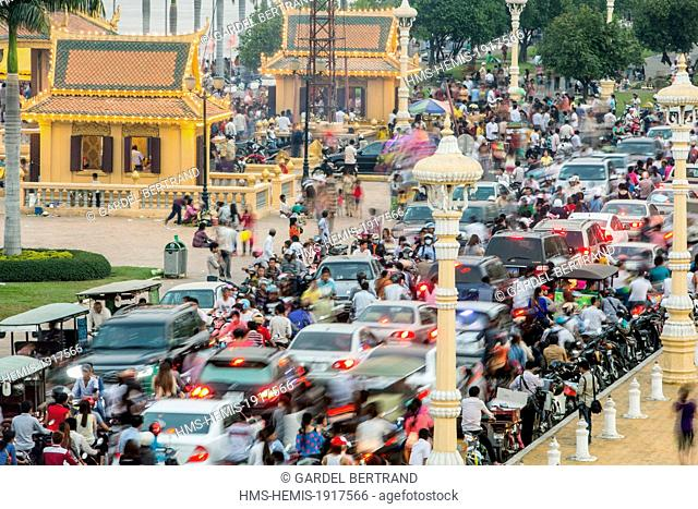 Traffic, Phnom Penh, Cambodia, Stock Photo, Picture And Rights