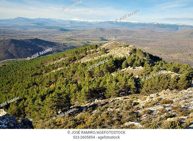 Sierra de Guadarrama from The Bañaderos peak in the Sierra Norte. Montejo de la Sierra. Madrid. Spain. Europe
