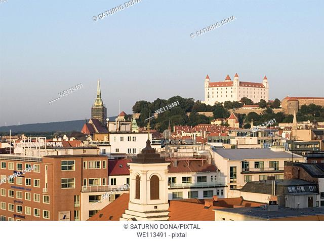 cityscape of Bratislava with the castle in background, Slovakia
