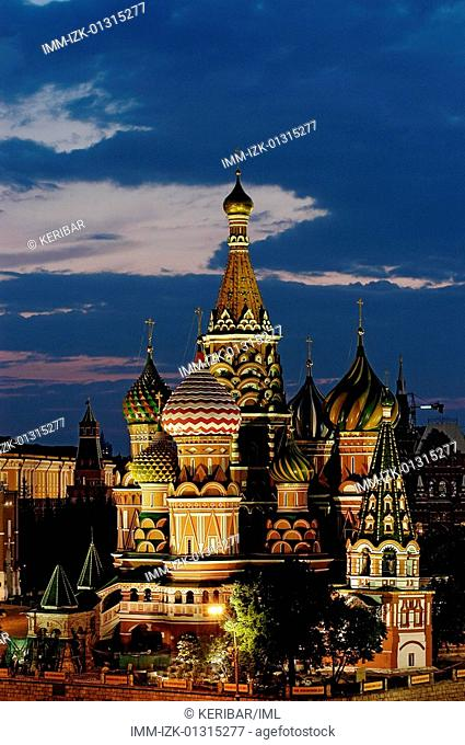 Red Square, St Basil's Cathedral at night, Moscow, Russia, Europe