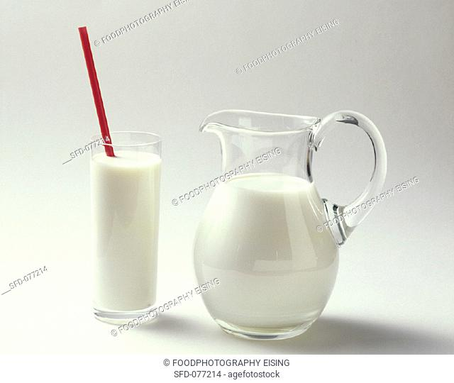 A Glass of Milk with Straw
