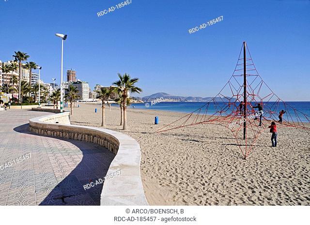 Playground at beach, La Fossa-Levante, Calpe, Alicante, Costa Blanca, Spain