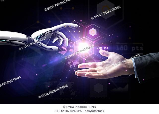 robot and human hand over virtual projection