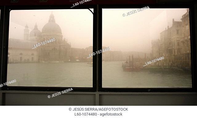 Window in Vaporetto, Venice, Italy