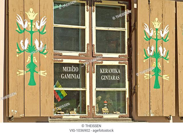 house with window ceramic shop town Klaipeda at the district Klaipeda Memel Territory, East Prussia, Lithuania, Baltic states. - 28/07/2008