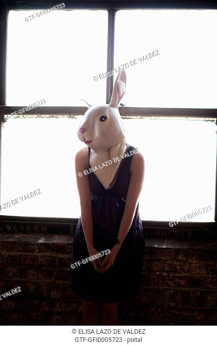 Woman Wearing White Rabbit Mask