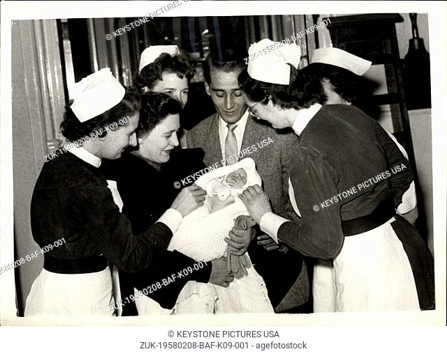 Feb. 08, 1958 - 8-2-58 Mrs. Farkas leaves hospital with her baby. Hungarian refugees saved from deportation ?¢'Ǩ'Äú Mrs