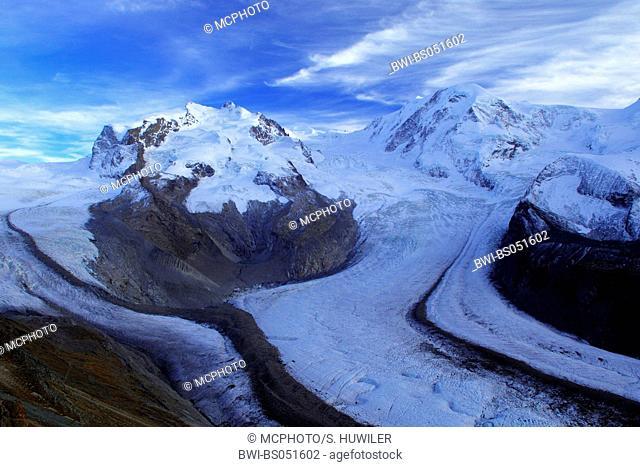 alpine scenery from Breithorn glacier; Gorner glacier and Schwarz glacier, Switzerland, Zermatt