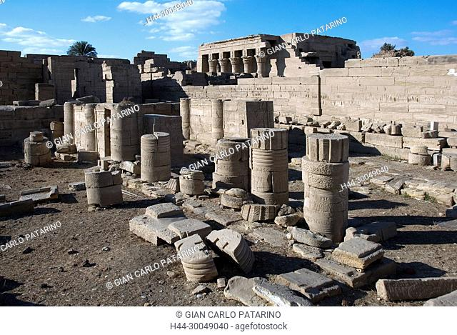 Egypt,Dendera,Ptolemaic temple of the goddess Hathor.View of ruins in the courtyard