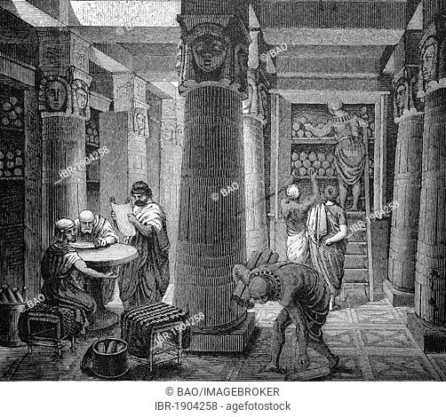 In the library of Alexandria, Egypt, historical woodcut, circa 1870
