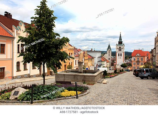old town square of Vimperk, called 'the Gate of the Sumava Mountains' German: Winterberg, Okres Prachatice, Bohemian Forest, Czech Republic, Europe