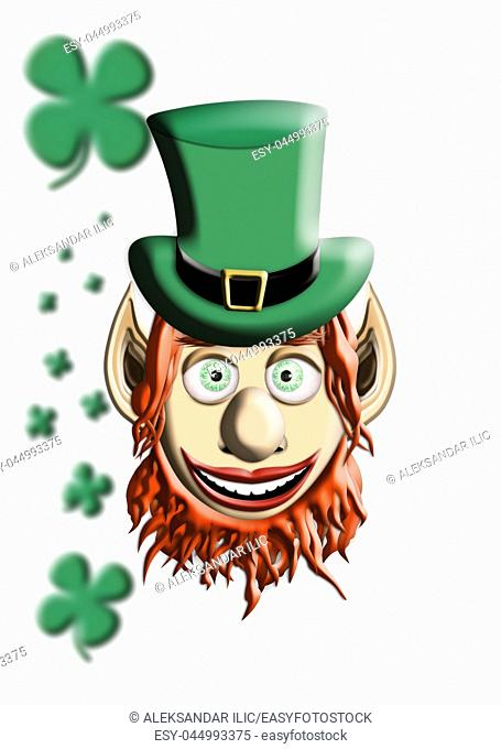 St Patrick's Day. Leprechaun With Green Hat and Four Leaf Clover Isolated On White Background 3D illustration