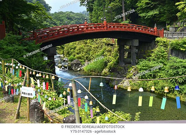 The Shinkyo Sacred Bridge in Nikko, Jover the Daiya river , Japan, Asia