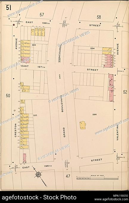 Bronx, V. 14, Plate No. 51 [Map bounded by E. 198th St., Valentine Ave., E. 196th St., Creston Ave.]. Sanborn Map Company (Publisher)