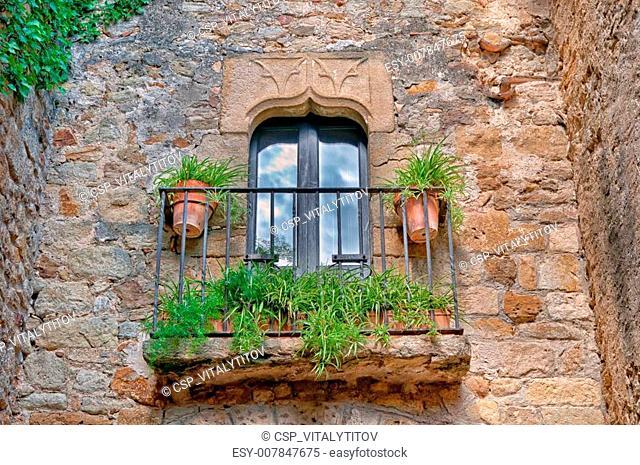 Balcony with flowers, Peratallada, Spain