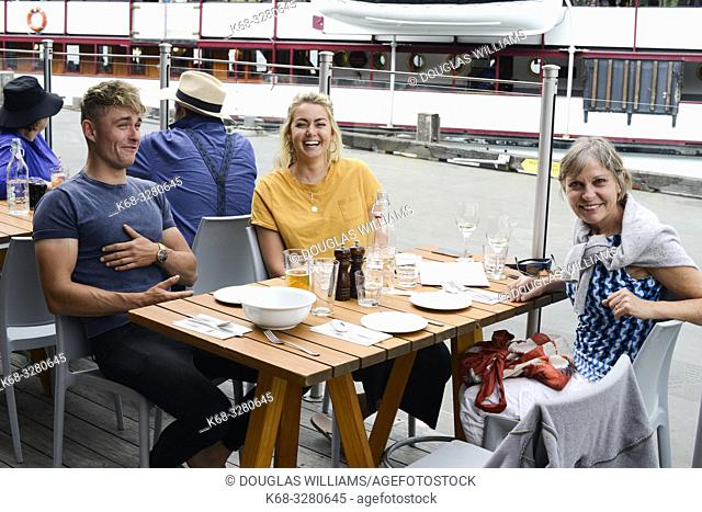 People at a restaurant in Queenstown, South Island, New Zealand