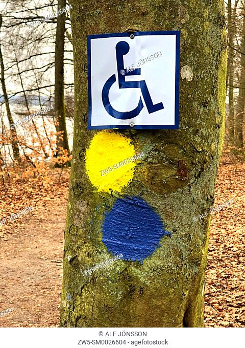 Sign with symbol of handicapped person for a trekking path in Snogeholm, Scania, Sweden