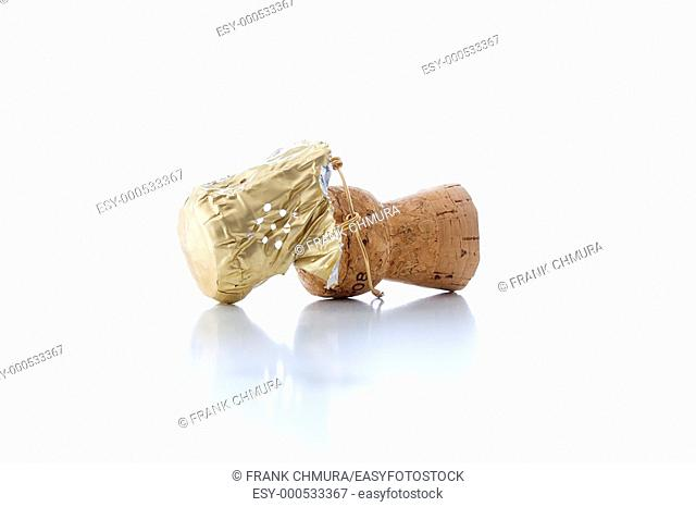 close-up of a champagne cork isolated on white background