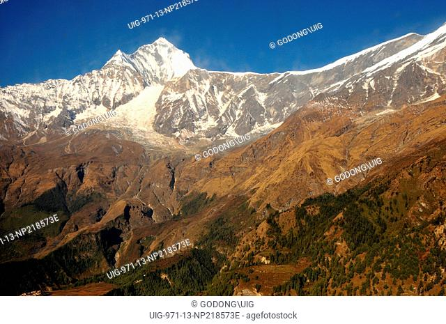 The Himalayas over Pokhara, Mt Dhauglagiri stands at 8167 m, Nepal