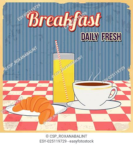 Breakfast retro poster