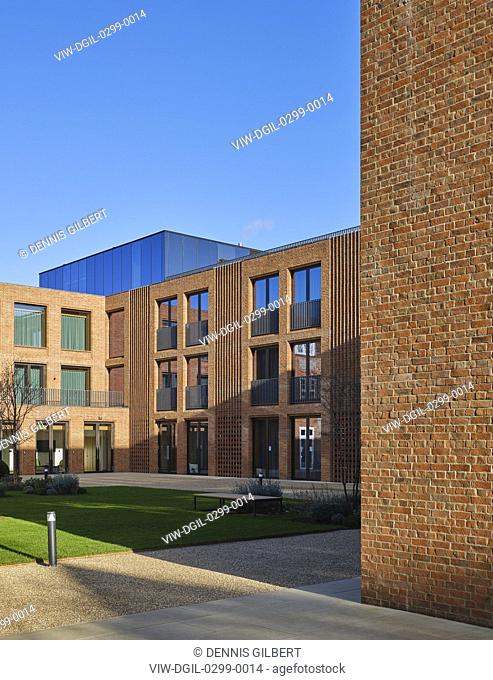 Building facade and rooftop gym. Newnham College, Cambridge, Cambridge, United Kingdom. Architect: Walters and Cohen Ltd, 2018