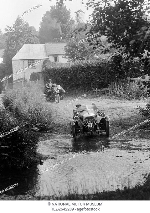 Morgan 3-wheeler, B&HMC Brighton-Beer Trial, Windout Lane, near Dunsford, Devon, 1934. Artist: Bill Brunell