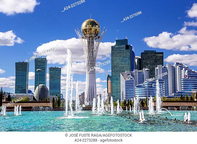 Kazakhstan, Astana City, New Administrative City, Nurzhol Avenue , Bayterek Monument, Singing Fountains Square