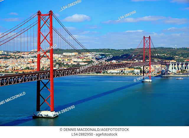 25th of April Bridge over Tagus River Lisbon Almada Portugal EU Europe