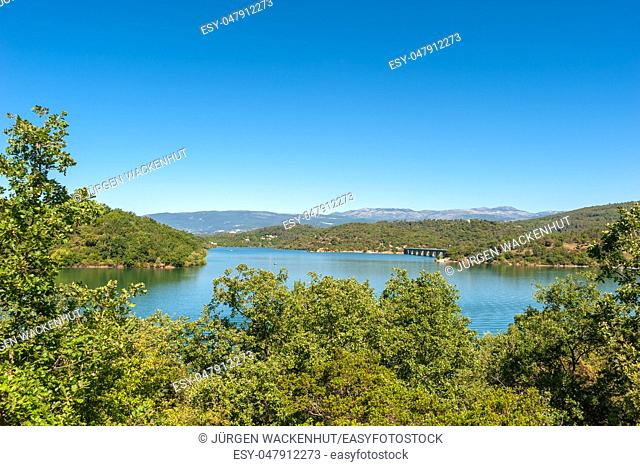 Landscape with view toward the lake Saint-Cassien, Montauroux, Var, Provence-Alpes-Cote d`Azur, France, Europe