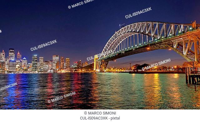 Sydney Harbor Bridge at night, Sydney, Australia