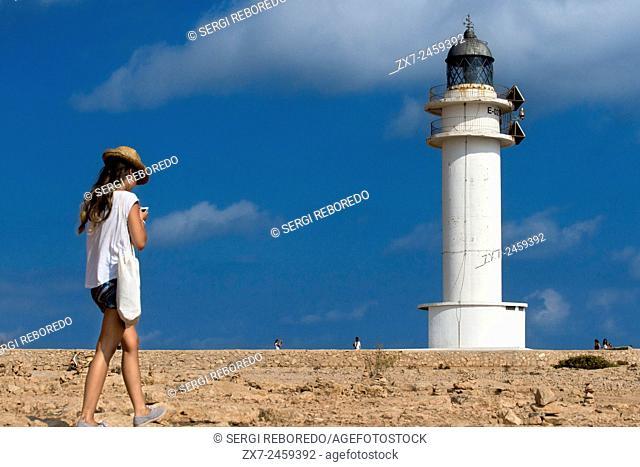 Es Cap de Barbaria lighthouse, in Formentera, Balears Islands. Spain. Barbaria cape formentera lighthouse road