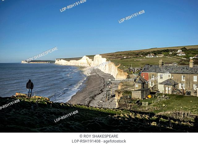 England, East Sussex, Birling Gap. Birling Gap in the Severn Sisters Country Park